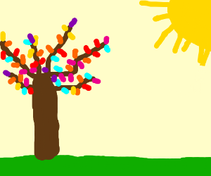 A tree sprouts rainbow colored leaves