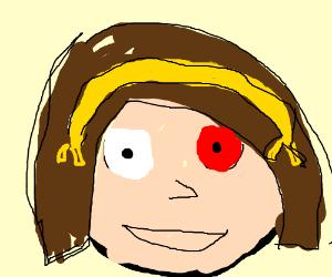 Haruhi with a bloodshot eye