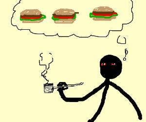 a stick man on crack thinks about hamburgers