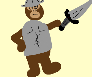 Monkey wearing armour holding a sword.