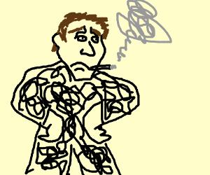Sad, high, scribble man
