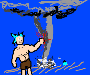 Shirtless anime guy punches a tornado