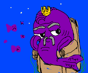 The fish king is disappointed in his fishjects