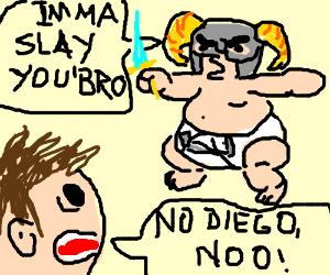 Baby named Diego threatens to slay 'Bro'