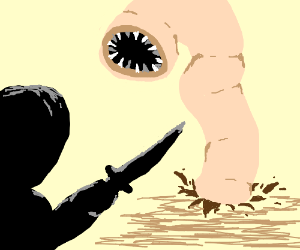 Climactic battle between man and worm