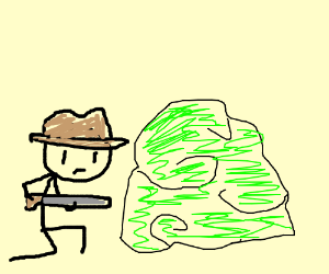 Hunter cowboy hides in the bushes sternly