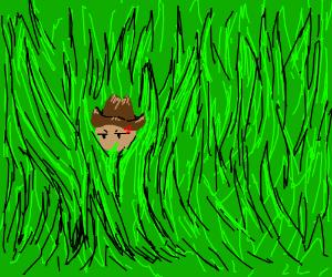 Tiny cowboy vs the giant grass