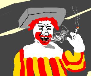 Old Ronald McDonald blowing smoke