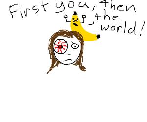 Girl with bloody cornea, mutant banana in hair