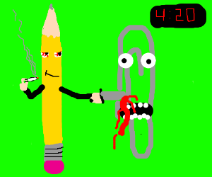 A blazed pencil stabs a paperclip at 4:20.