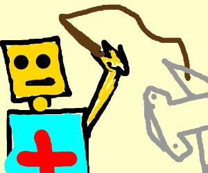 Lego doctor whips hammerhead shark