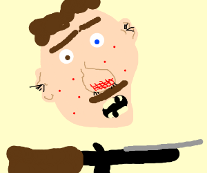 ugly mustache man with rose and machinegun