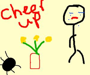 beetle offers sad man a vase of flowers