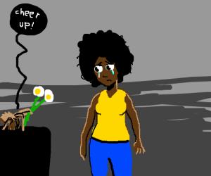 spider gives sad girl flowers