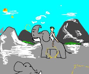 Hannibal leads elephants over the alps.