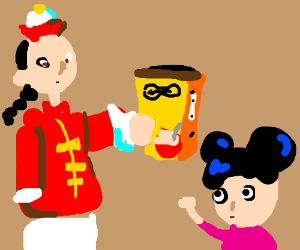 Stereotipic chinese people holding cereal box