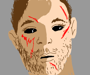 Eyeless guy with scars looks into your soul...