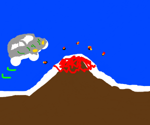 white car jumping over volcano