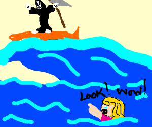 grim reaper catches gnarly swell and girl sees