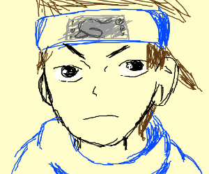 Anime person wearing scarf,armor, and headband