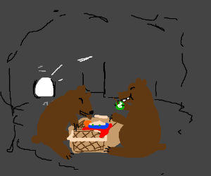 Some bears raid a picnic basket in a cave
