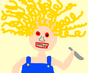 mad curlyhair person