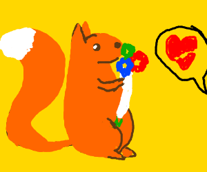 squirrel fails to impress with his bouquet