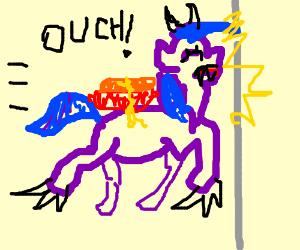 purple hotdog-ponymonster flies into a wall