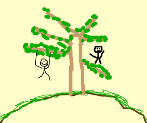Kids playing on a tree