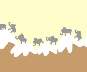 Elephants journey through the Himalayas