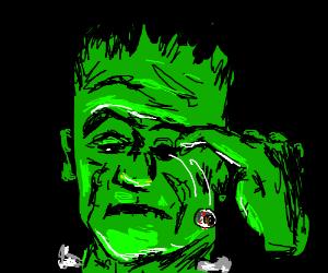 Frankenstein pokes his own eye out