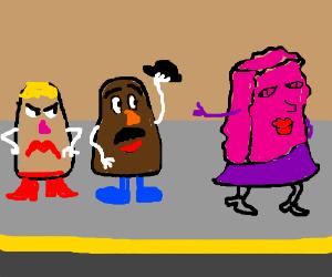 Mr Potato Head admires female sponge on street