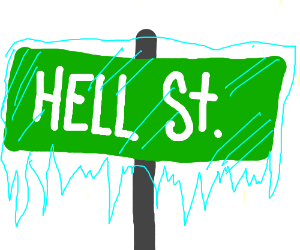 Roadsign iced over