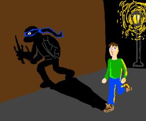 Guy's shadow is secretly a ninja turtle