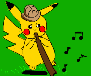 Safari pikachu playing a didgeridoo