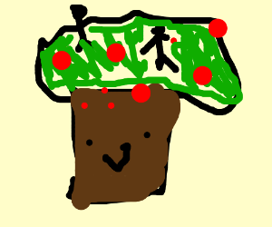 Happy apple tree with stick figures dancing on