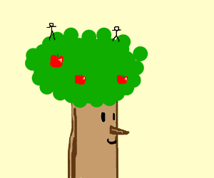 two dudes on a tree looking happy