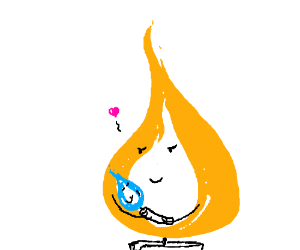 Orange flame thinks about its baby blue flame