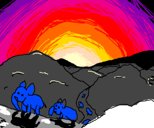 7 elephants going over snowy mountains