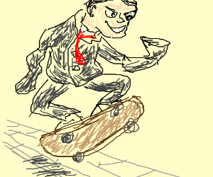 Armless businessman skateboards on sidewalk