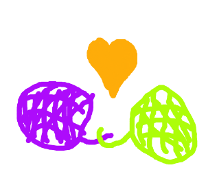 Two tangled yarn balls in love