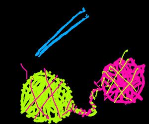 Two entangled balls of yarn
