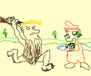 Poorly drawn Barney attacks transparent Mario