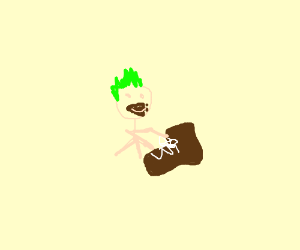 Punk baby eats chocolate boot