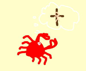 Crab dreaming about Jesus