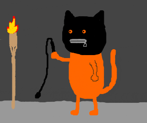 Cat dungeon with tiki torch