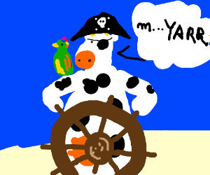 The cow became a pirate captain.