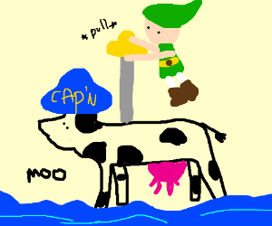 Link pulls master sword out of captain sea cow