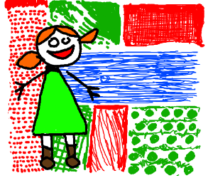 Little girl in front of a quilted plantation