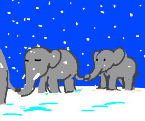 Elephants holding tails in the snow.